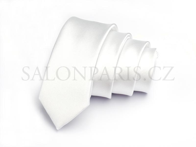 f775ef9db59 Pánská kravata úzká   slim bílá