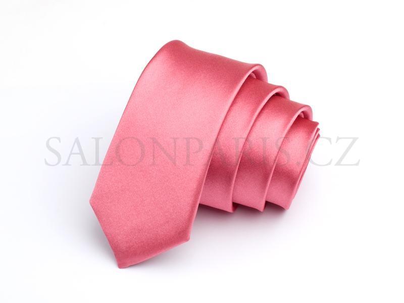 Pánská kravata úzká   slim růžová korálová  a4657e4277